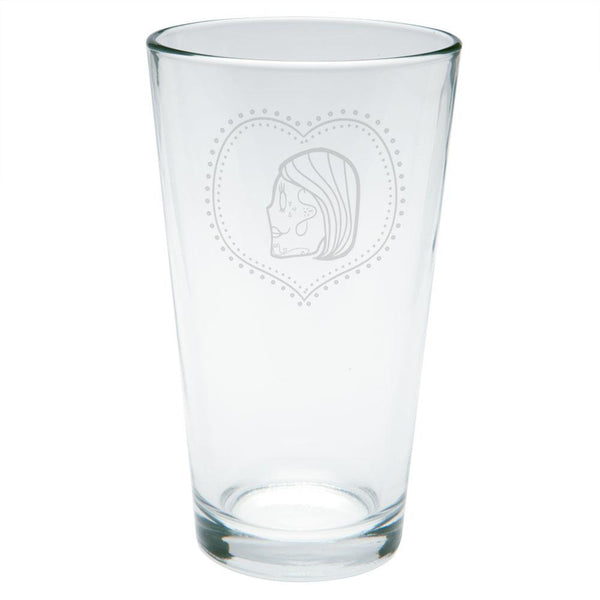 Valentines Female Sugar Skull Etched Pint Glass