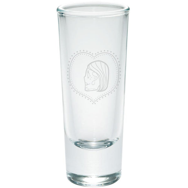 Valentines Female Sugar Skull Etched Shot Glass Shooter