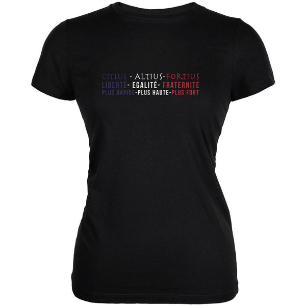 French Colors and Olympic Motto Black Juniors Soft T-Shirt