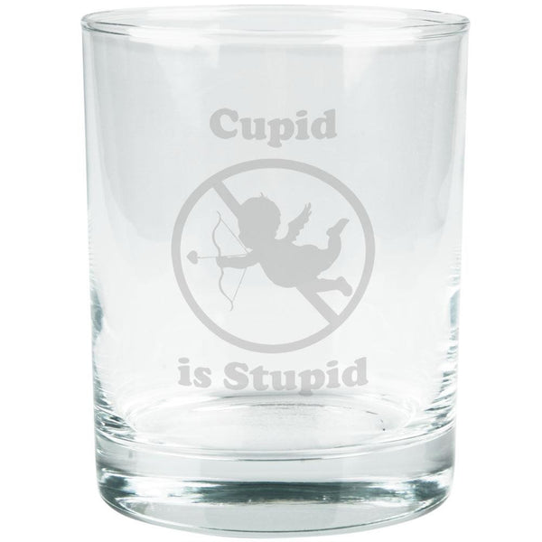 Cupid is Stupid Etched Glass Tumbler