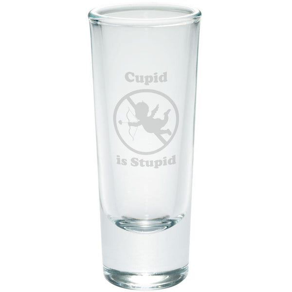 Cupid is Stupid Etched Shot Glass Shooter