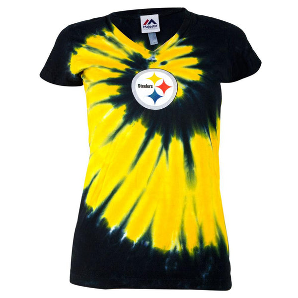 Pittsburgh Steelers - Logo Spiral Tie Dye Juniors V-Neck T-Shirt