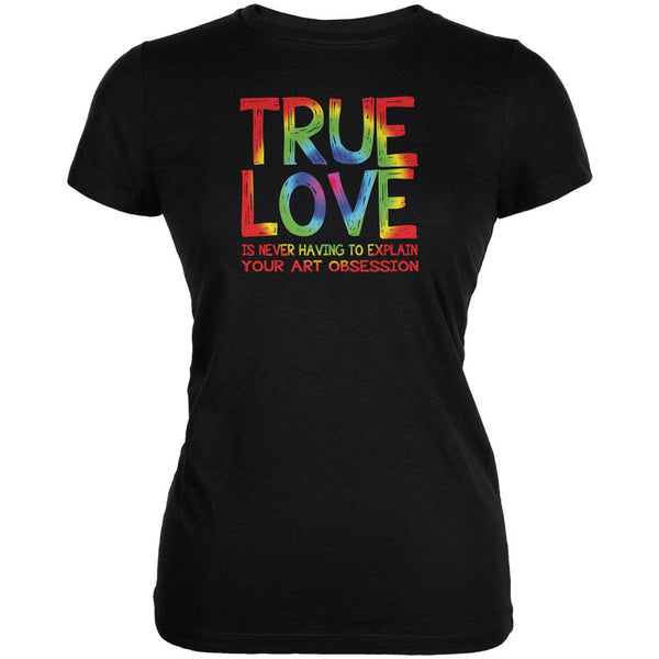 Valentines Day True Love Art Obsession Black Juniors Soft T-Shirt