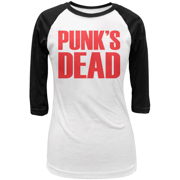 Punk's Dead V2 White-Black Juniors 3-4 Sleeve Raglan T-Shirt
