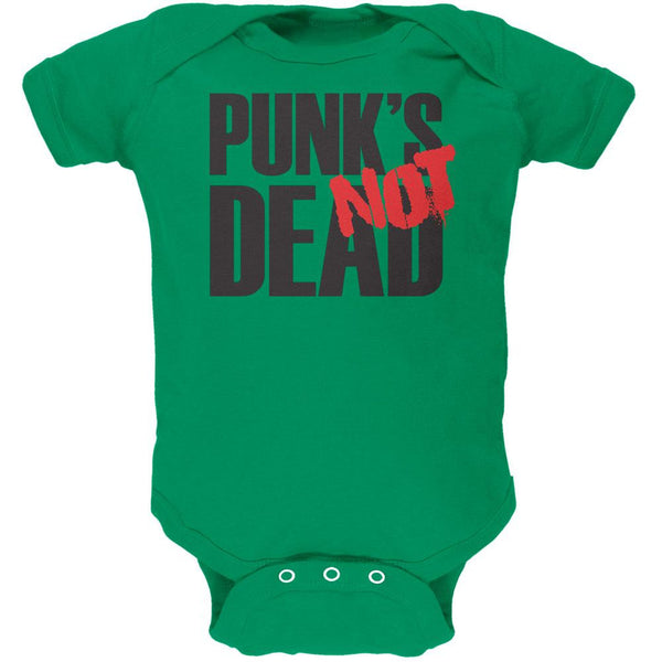 Punk's NOT Dead V1 Kelly Green Soft Baby One Piece