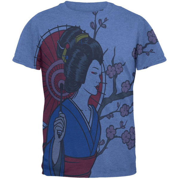 Geisha Blossom All Over Heather Blue Adult T-Shirt