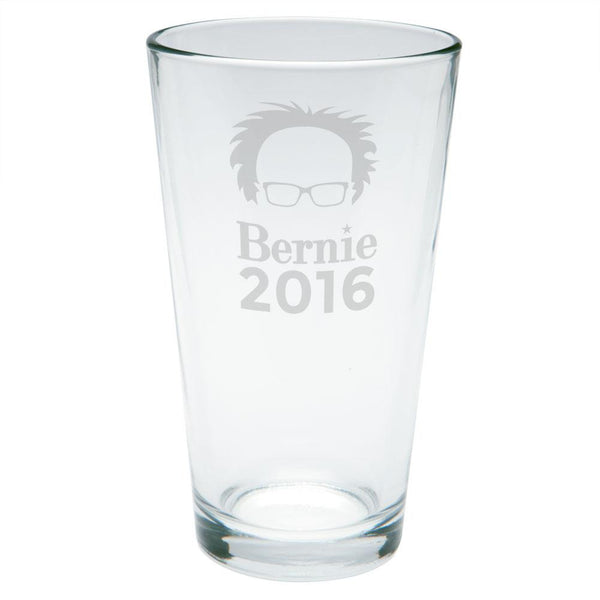 Election 2016 Bernie Sanders Hair Minimalist Etched Pint Glass