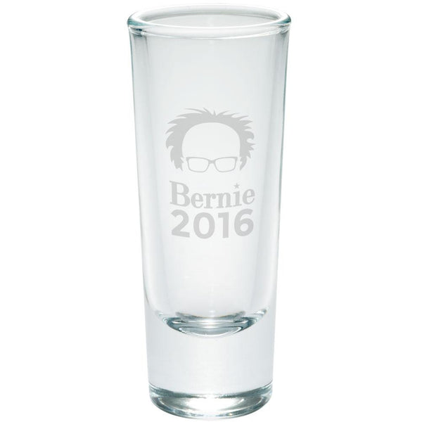 Election 2016 Bernie Sanders Hair Minimalist Etched Shot Glass Shooter