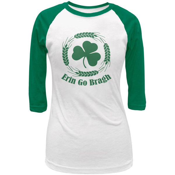St. Patricks Day Erin Go Bragh Juniors 3/4 Sleeve Raglan T-Shirt