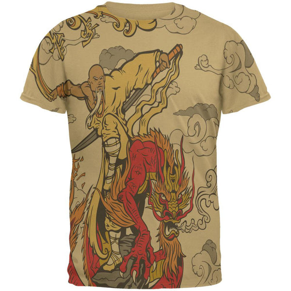 Enter The Dragon Monk All Over Tan Adult T-Shirt