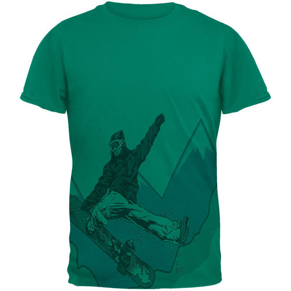 Shred The Gnar Snowboarder All Over Jade Green Adult T-Shirt