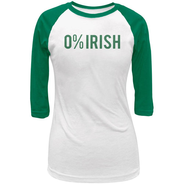 0% Irish 100% Drunk Juniors 3/4 Sleeve Raglan T-Shirt