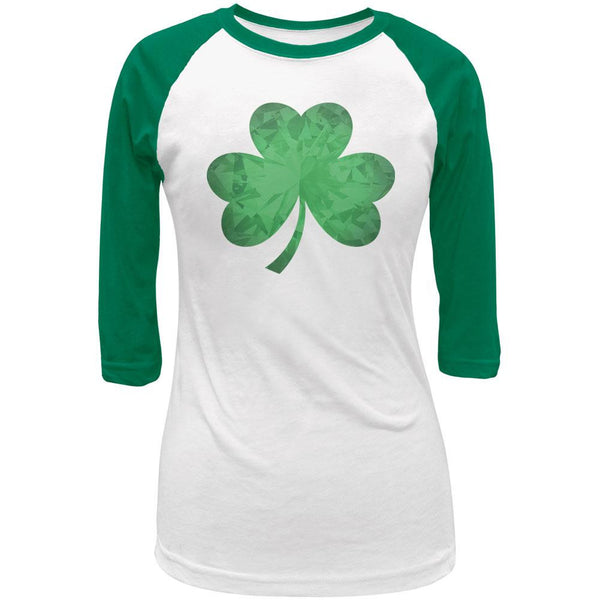 St Patricks Jeweled Shamrock Juniors 3/4 Sleeve Raglan T-Shirt