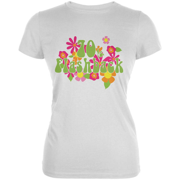 70's Flashback White Juniors Soft T-Shirt