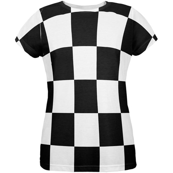 Finish Line Checkered Flag All Over Womens T-Shirt