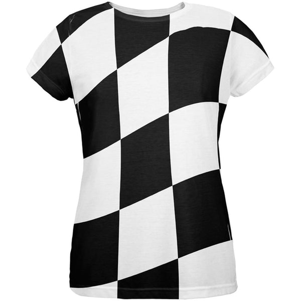 Finish Line Checkered Flag Wave All Over Womens T-Shirt