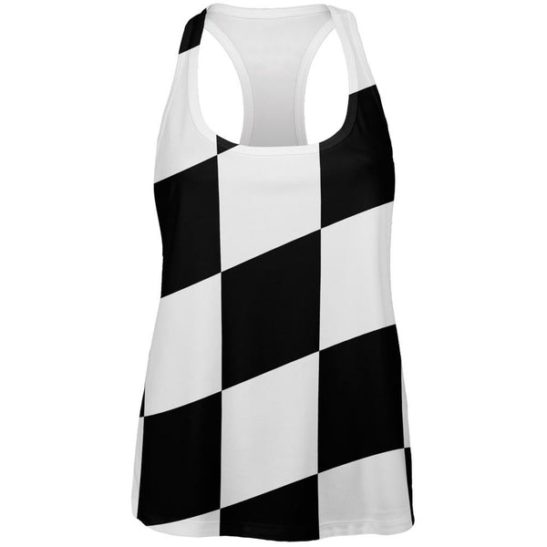 Finish Line Checkered Flag Wave All Over Womens Racerback Tank Top
