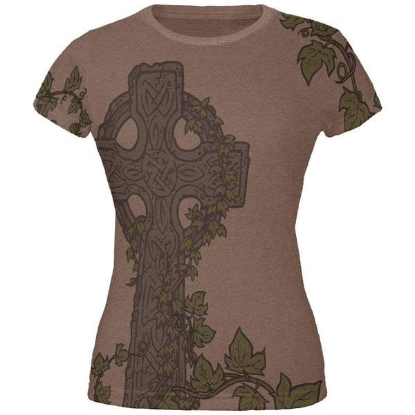 St. Patricks Day Celtic Cross Ivy All Over Heather Brown Juniors Soft T-Shirt