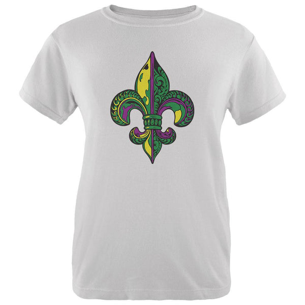 Mardi Gras Ornate Colorful Fleur-de-Lis White Womens T-Shirt