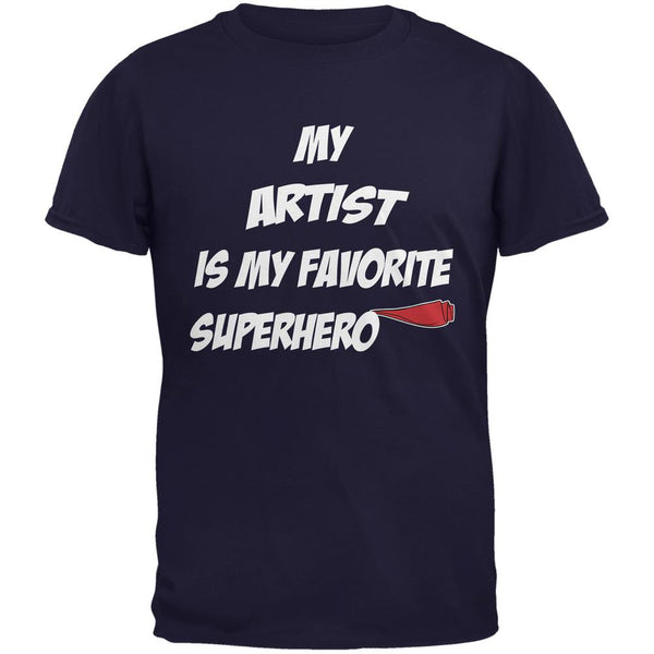 Artist is My Superhero Navy Adult T-Shirt