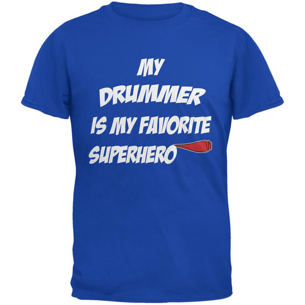 Drummer is My Superhero Royal Adult T-Shirt