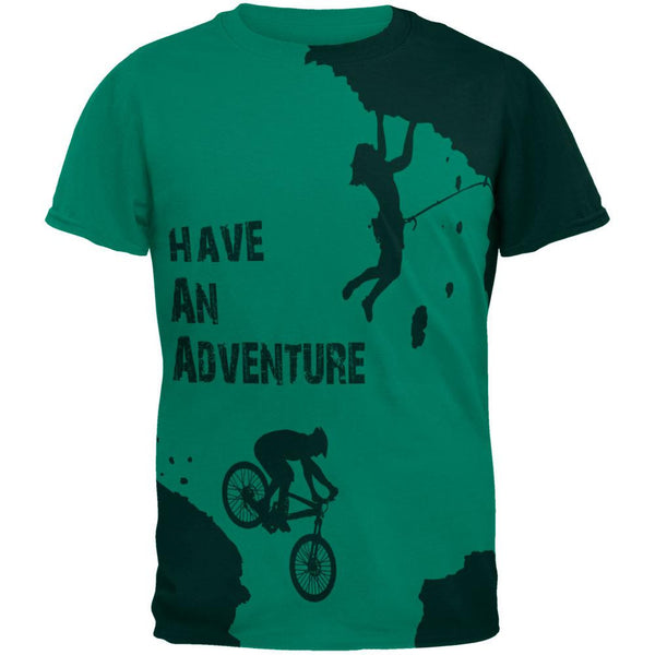 Have an Adventure All Over Jade Green Adult T-Shirt