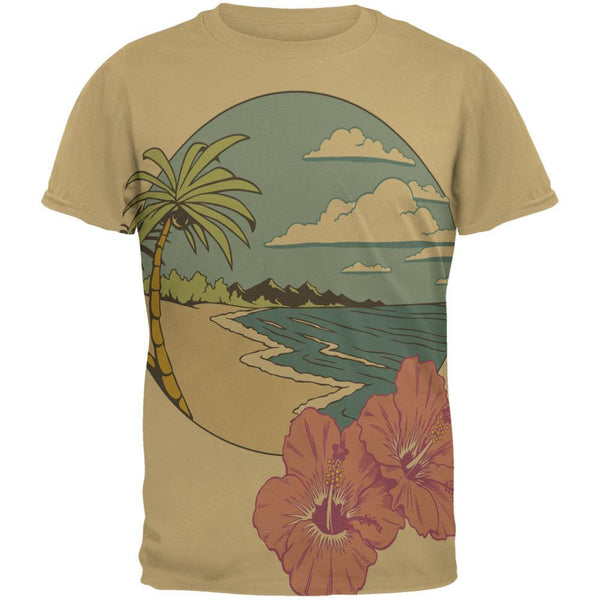 Paradise Hibiscus Blossom All Over Tan Adult T-Shirt
