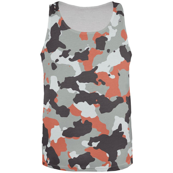 Grey and Orange Camo All Over Adult Tank Top