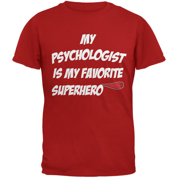 Psychologist is My Superhero Red Adult T-Shirt
