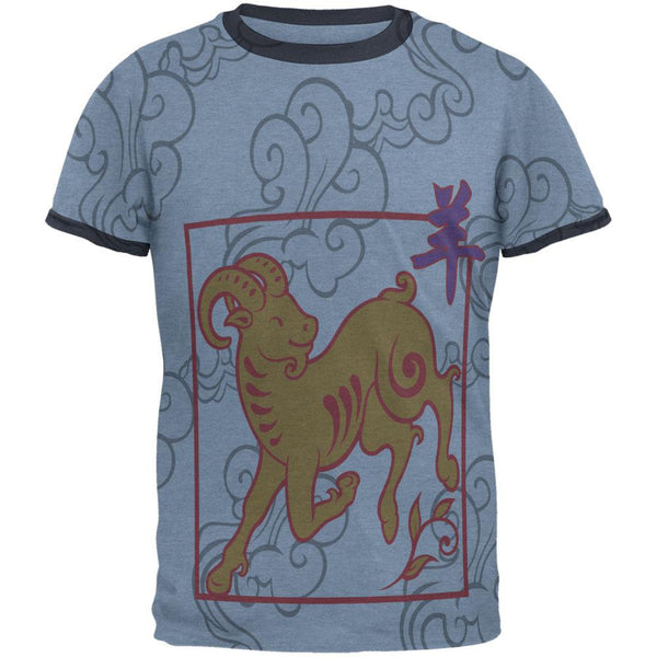 Chinese New Year Ram All Over Heather Blue-Navy Men's Ringer T-Shirt