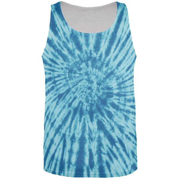 Blue Tie Dye All Over Adult Tank Top