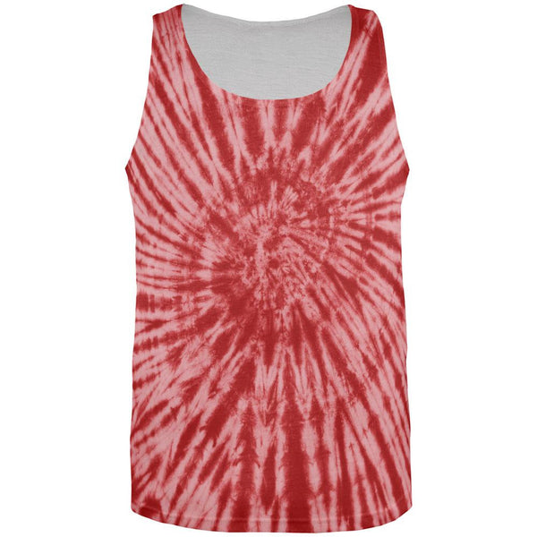 Red Tie Dye All Over Adult Tank Top
