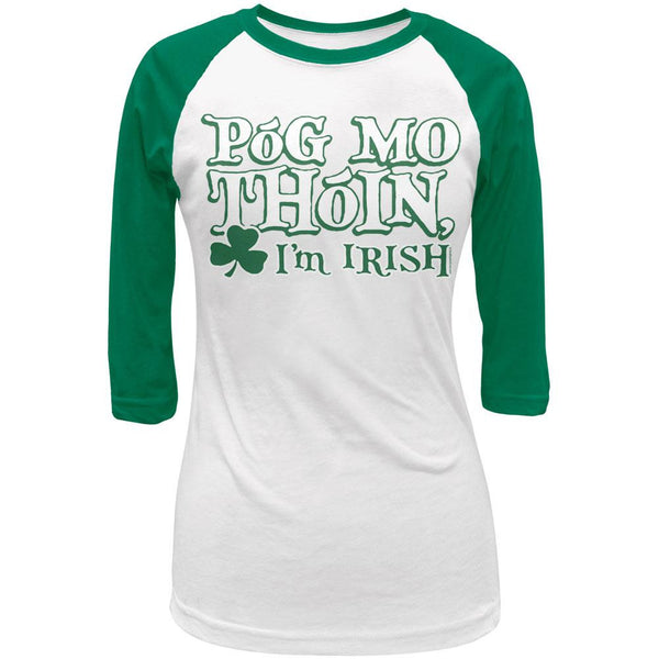St Patricks Pog Mo Thoin Green Juniors 3/4 Raglan T-Shirt