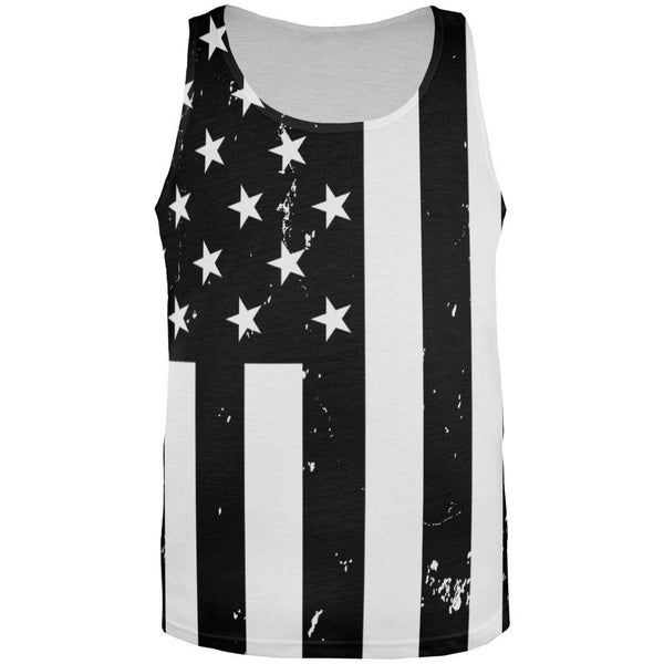Black And White American Flag Distressed All Over Adult Tank Top