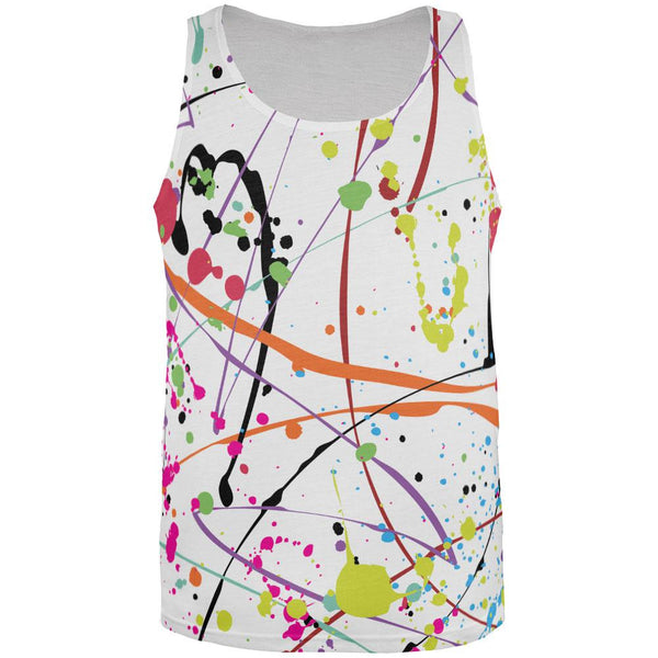 Splatter Paint White All Over Adult Tank Top