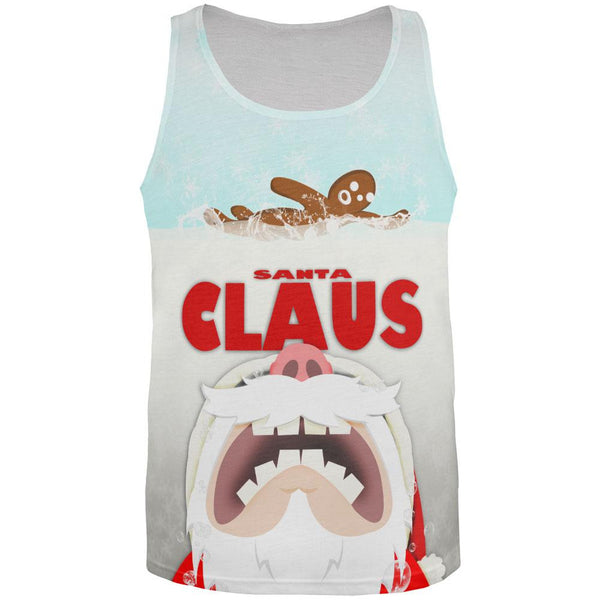 Christmas Santa Jaws Claus Horror All Over Adult Tank Top