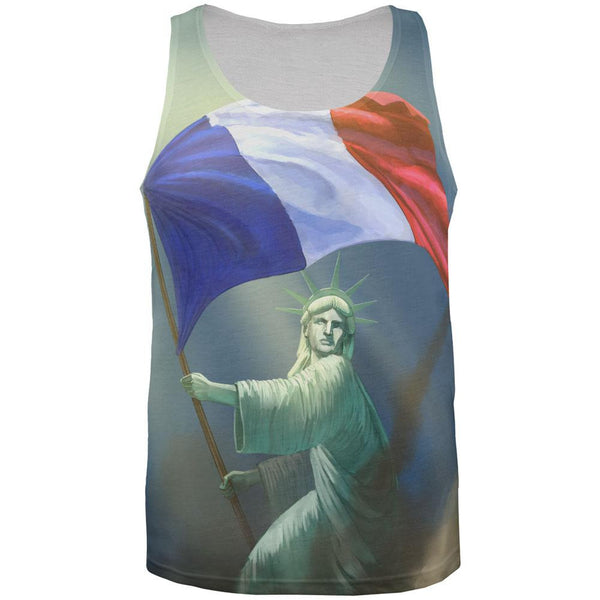 Lady Liberty Waving French Flag All Over Adult Tank Top