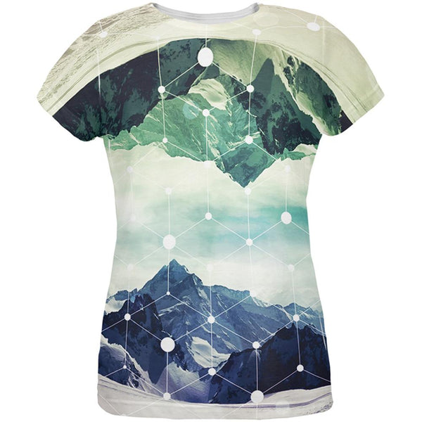 Geometric Mountains All Over Womens T-Shirt
