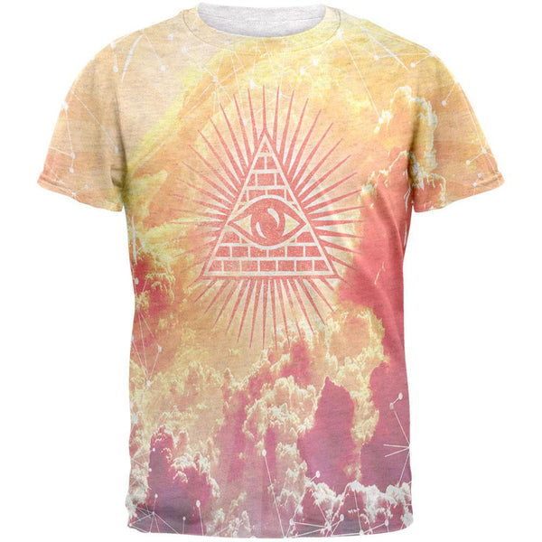 Illuminati Clouds All Over Heather White Adult T-Shirt