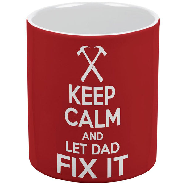 Keep Calm and Let Dad Fix It Red White All Over Coffee Mug Set