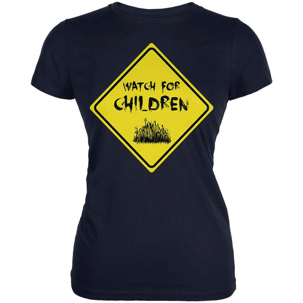 Watch For Children Horror Navy Juniors Soft T-Shirt