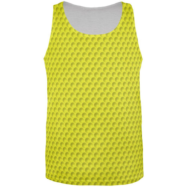 Golf Ball Yellow All Over Adult Tank Top