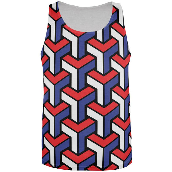3D Red White Blue Blocks All Over Adult Tank Top