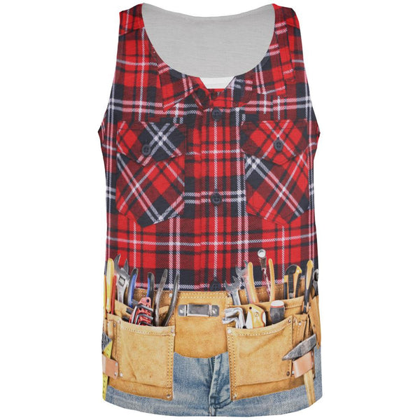 Halloween Plumber Flannel All Over Adult Tank Top
