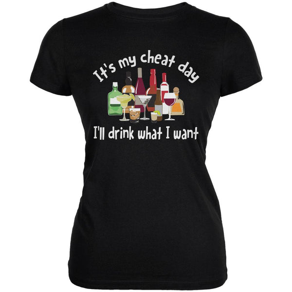 It's My Cheat Day I'll Drink What I Want Black Juniors Soft T-Shirt