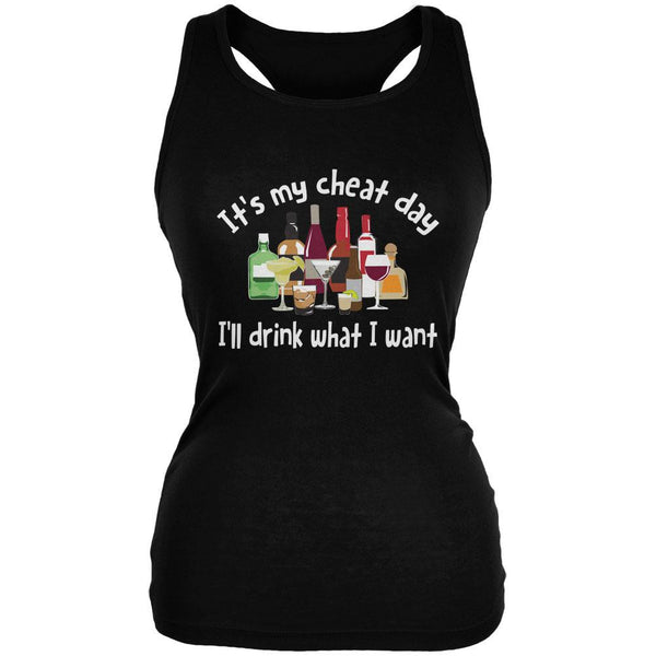 It's My Cheat Day I'll Drink What I Want Black Juniors Soft Tank Top