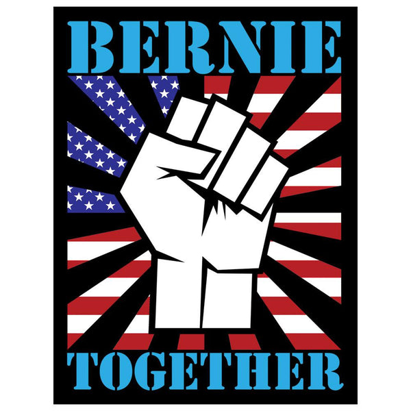Election Bernie Sanders Raised Fist Together 4x3in. Decal Sticker