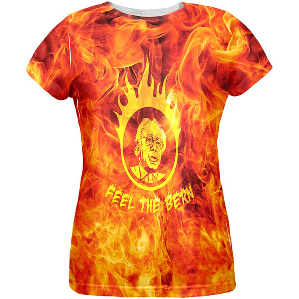 Election 2016 Bernie Sanders Feel the Bern Flames All Over Womens T-Shirt
