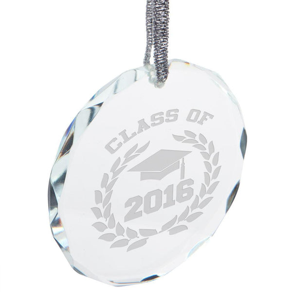 Class of 2016 Laurel Etched Round Crystal Ornament
