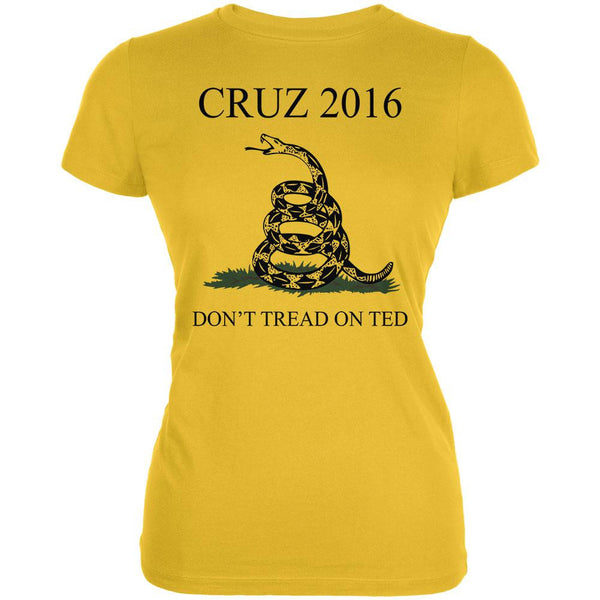 Election 2016 Cruz Don't Tread On Ted Bright Yellow Juniors Soft T-Shirt